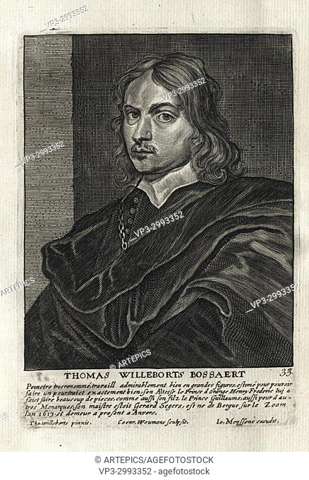 THOMAS WILLEBORTS BOSSAERT - Woodcut portrait and short biography (old french language) - Engraving 17th century