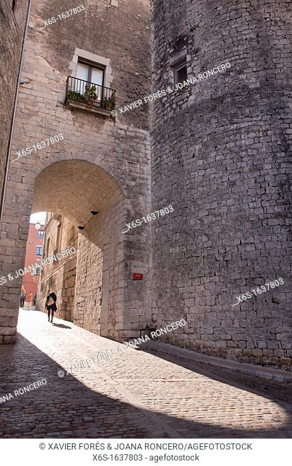 Streets in downtown in Girona, Spain
