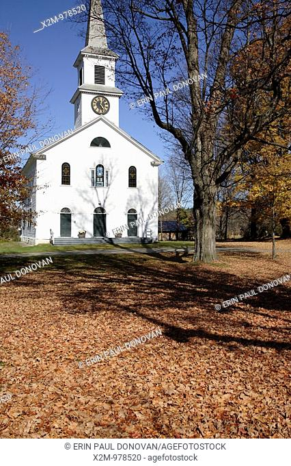 First Baptist Church during the autumn months  Located in Cornish, New Hampshire USA which is part of scenic New England