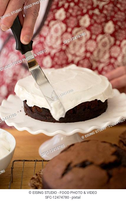 Devils Food Cake covered with frosting