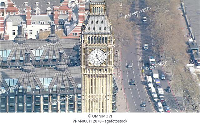 Aerial view of Big Ben with Portcullis House in background