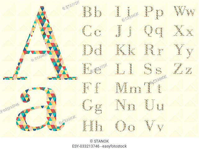 Alphabet of geometric shapes. ABC element in vector