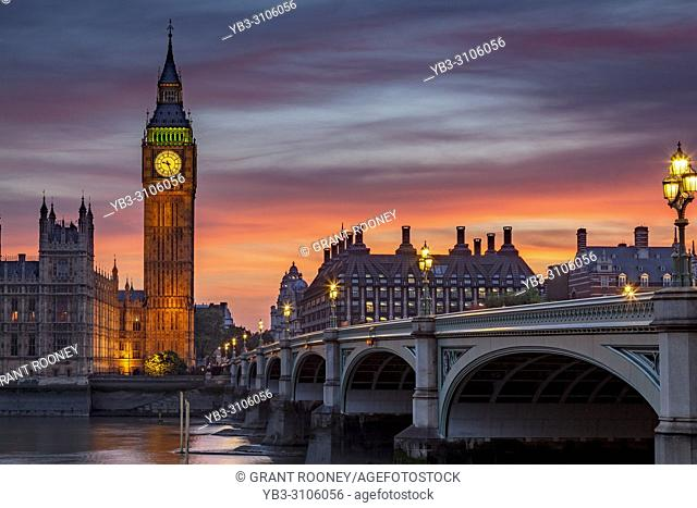 The Elizabeth Tower (Big Ben) and Westminster Bridge, London, England