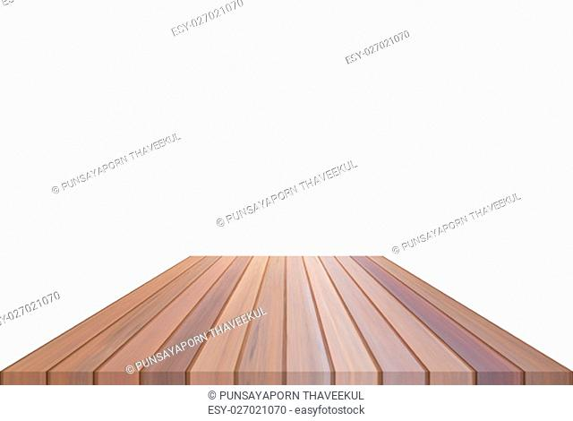 Brown table top isolated on white background. For product display