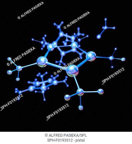Abstract molecule model, illustration