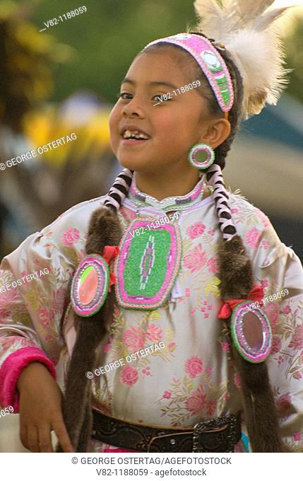 Native American girl in regalia, Pi-Ume-Sha Treaty Days, Warm Springs Indian Reservation, OR