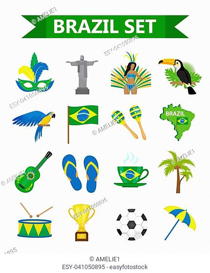 Brazilian carnival icons flat style. Brazil country travel tourism. Collection of design elements, culture symbols with toucan, parrot, rio de jeneiro monument