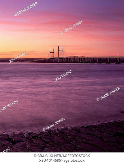 The Prince of Wales Bridge (Second Severn Crossing) over the River Severn between England and Wales seen from Severn Beach in Gloucestershire