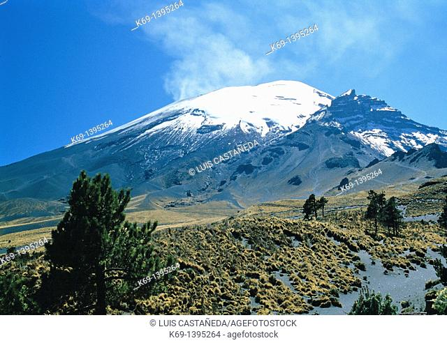 Popocatepetl is an active volcano and, at 5,426 m 17,802 ft, the second highest peak in Mexico after the Pico de Orizaba 5,636 m/18