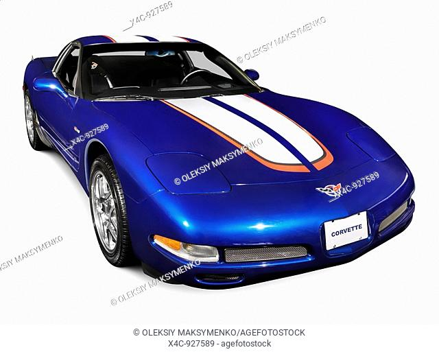 Blue 2004 Chevrolet Corvette C5 sports car isolated on white background with clipping path