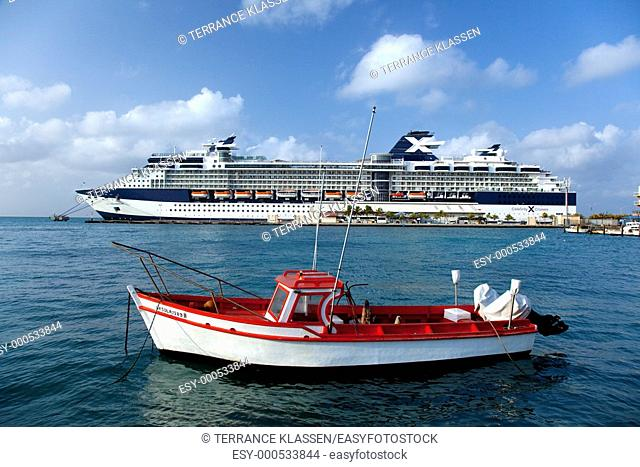 The Celbrity cruise ship Millenium in port at Aruba, Netherland Antilles