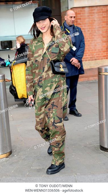 Bella Hadid arrives on Eurostar at St Pancras in London. Featuring: Bella Hadid Where: London, United Kingdom When: 19 Apr 2017 Credit: Tony Oudot/WENN