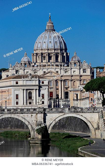Italy Rome Ponte Sant Angelo Papal Basilica of St. Peter in the Vatican or simply St. Peter's Basilica
