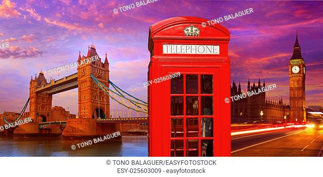 London photomount with telephone box and Tower Bridge