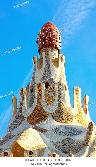 Detail of the porter's lodge pavilions at the Parc Güell, by Antoni Gaudi. Barcelona. Catalonia. Spain