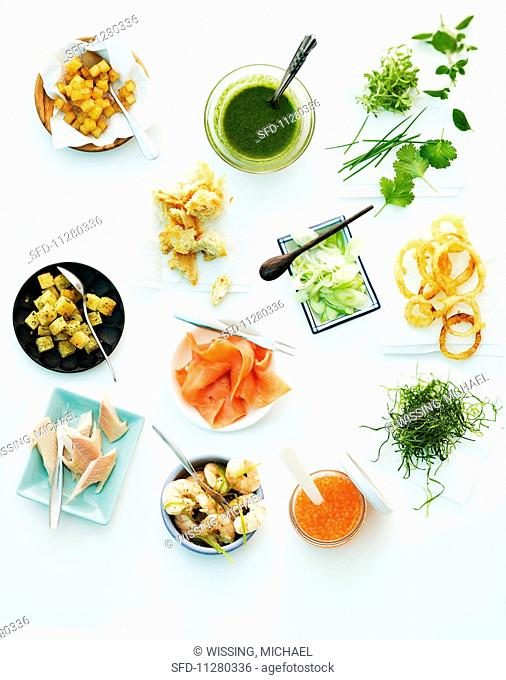Toppings for soups (croutons, herbs, vegetables, fish etc)
