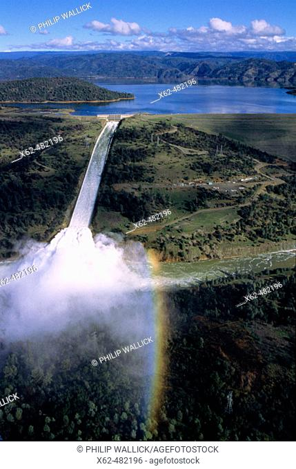 Oroville Dam is on the Feather river. Butte County, California, USA
