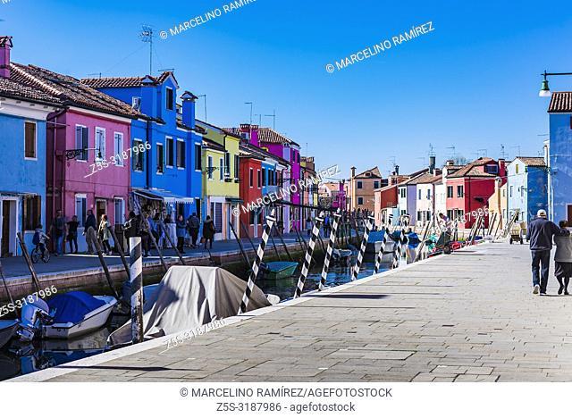 Burano island canal, colorful houses in the Venetian Lagoon. Burano, Venice, Veneto, Italy, Europe