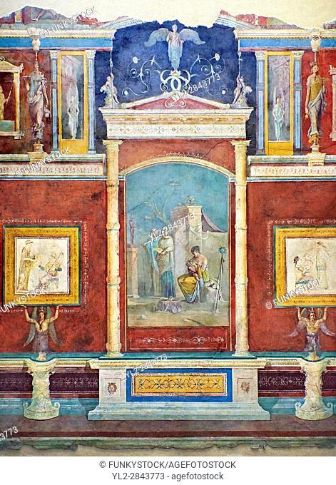 Roman fresco wall decorations of Bedroom B of the Villa Farnesia, Rome. Museo Nazionale Romano ( National Roman Museum), Rome, Italy.