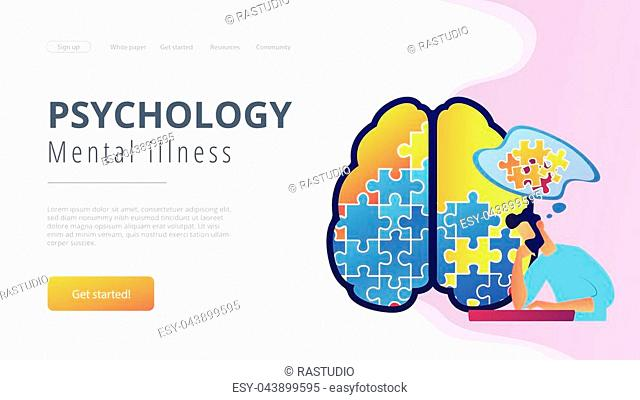 Man doing human brain puzzle. Psychology and mental illness landing page. Psychotherapy and mental healing, therapist counselling