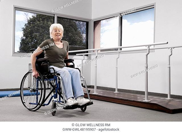 Disabled woman sitting in a wheelchair
