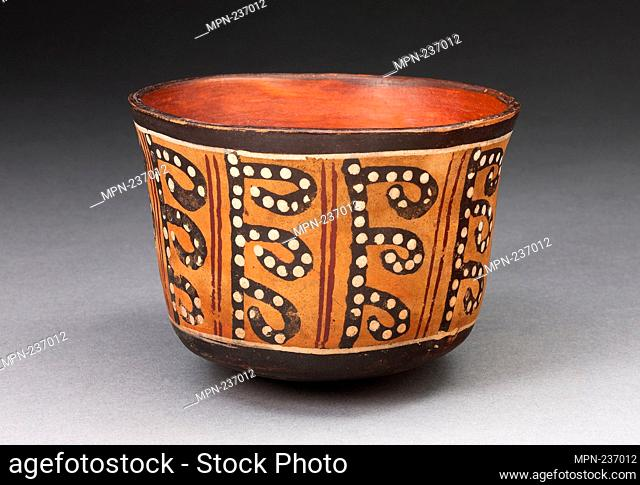 Cup with Repeated Spotted, Curved Line Motif - 180 B.C./A.D. 500 - Nazca South coast, Peru - Artist: Nazca, Origin: Nazca Valley, Date: 180 BC-500 AD