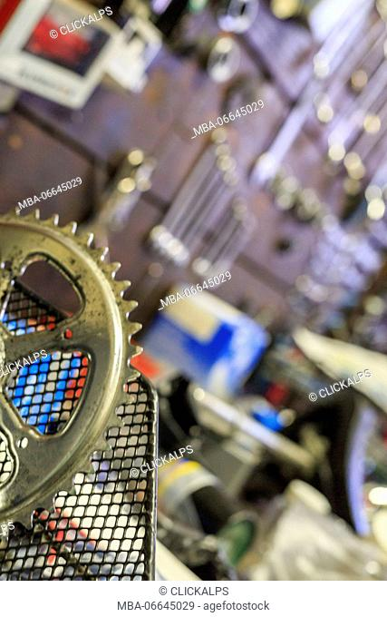 Mechanical tools in the Rossignoli bike shop an icon of Milan Lombardy Italy Europe