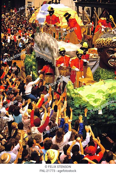 People celebrating Mardi Gras festival, New Orleans, Louisiana, Usa