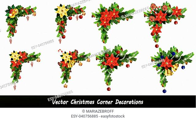 Set of Cristmas corner decorations isolated on white vector set