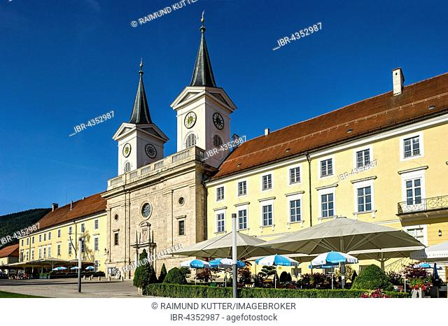 Former Benedictine monastery Tegernsee with Basilica of St Quirin, today castle with Bräustüberl, Tegernsee, Upper Bavaria, Bavaria, Germany
