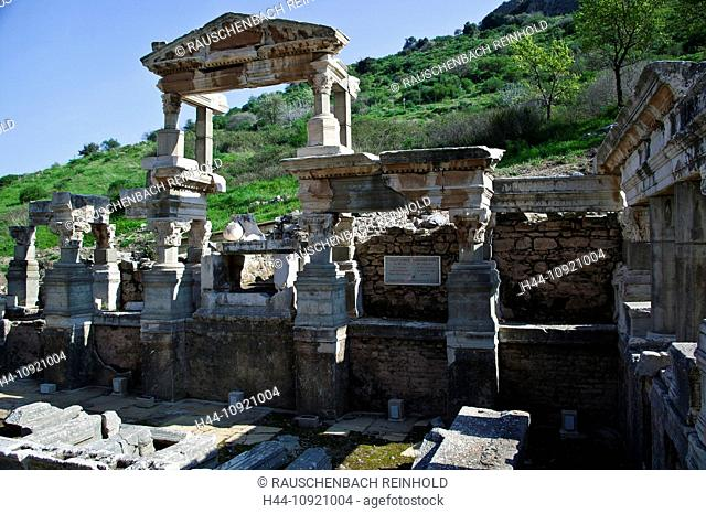 Excavation, excavation site, building, well, Ephesos, Ephesus, province Izmir, Roman empire, place of interest, landmark, column, columns, Trajan