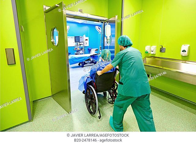 Nurse transporting patient to operating room, Ambulatory Surgery, Hospital Donostia, San Sebastian, Basque Country, Spain
