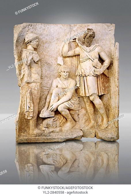 Roman temple freize relief sculpture of Meleager sits on a rock tying his sandal. Aphrodisias Museum, Aphrodisias, Turkey