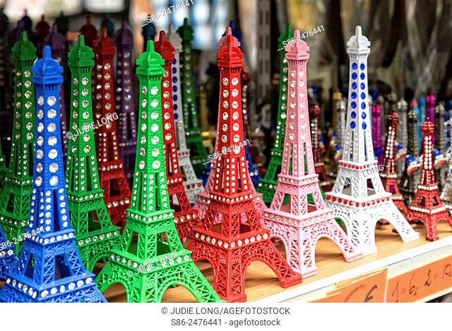 Eiffel Tower Statuettes Displayed and Offered for Sale in a Paris, France Souvenir Shop