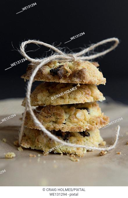 Sultana and oat cookies, homemade and tied ith string