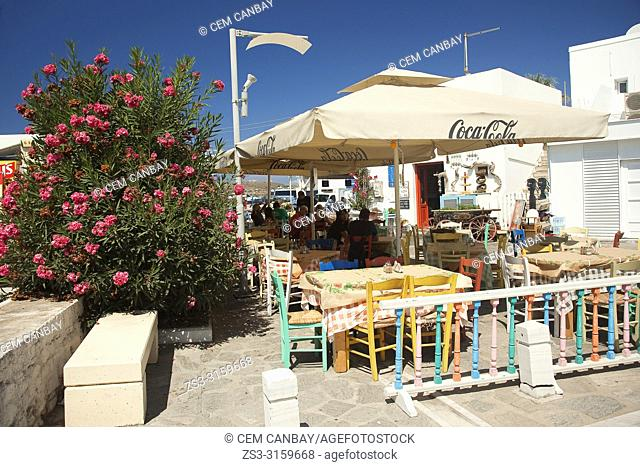 Tourists at the traditional restaurant called Taverna in Parikia village, Paros Island, Cyclades Islands, Greek Islands, Greece, Europe