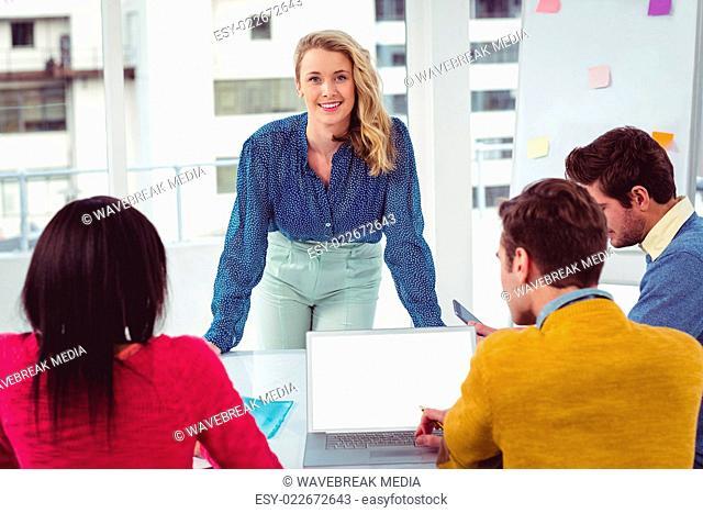 Creative businesswoman giving a presentation