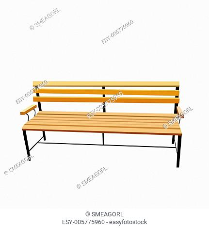 Realistic illustration of bench is isolated on white background