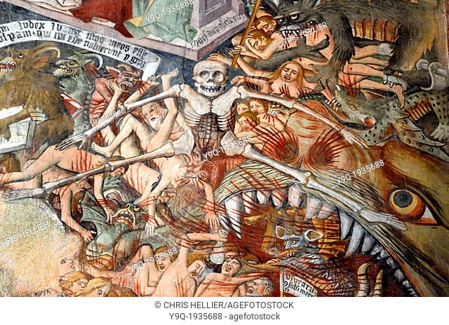 The Damned in Hell Fresco (1492-1530) Notre Dame des Fontaines La Brigue Roya Valley Alpes-Maritimes France