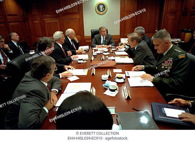 President George W. Bush with National Security Council, Sept 20, 2001. Within days after this meeting, U.S. equipment and soldiers arrived at Tuzel Airbase