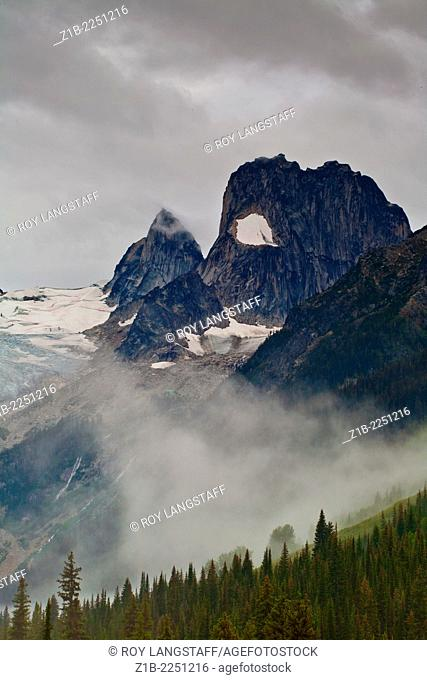 A scene in Bugaboo Provincial Park on a damp and misty day