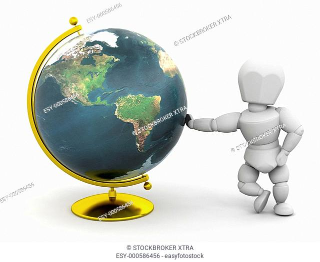 3D render of someone stood next to a globe
