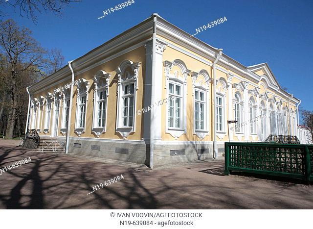 Lower park. Monplaisir palace. Catherine' wing (1747-1755). Architect Francesco Bartolomeo Rastrelli, Peterhof, near St.Petersburg, Russia