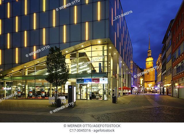 Dortmund, D-Dortmund, Ruhr area, Westphalia, North Rhine-Westphalia, NRW, Konzerthaus, concert house, philharmonic hall, facade, pedestrian zone Brueckstrasse