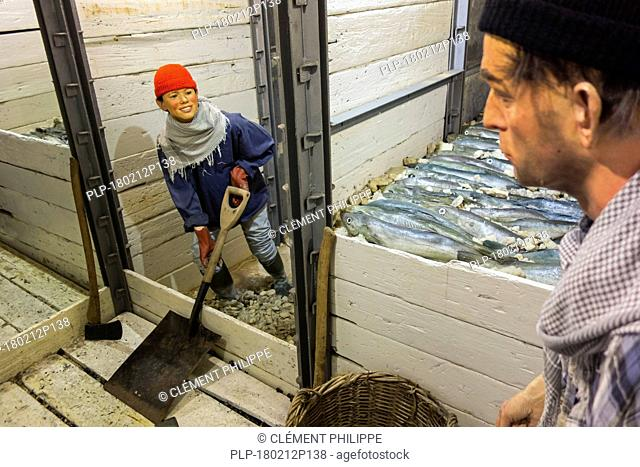 Crew in the fish hold of the last Iceland trawler Amandine, renovated fishing boat now serves as an interactive museum in Ostend, Belgium
