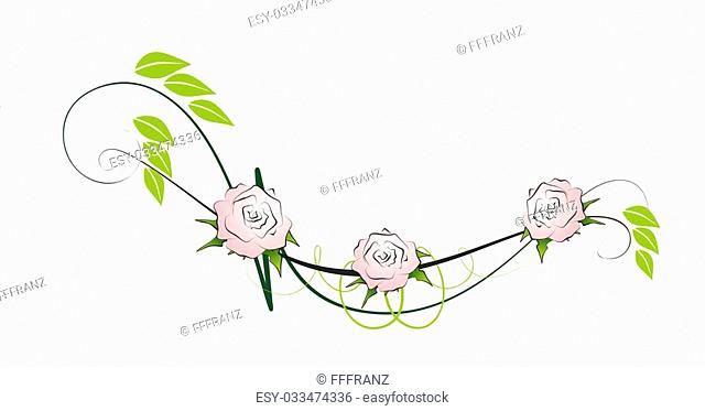 floral element for decoration with roses and leaves