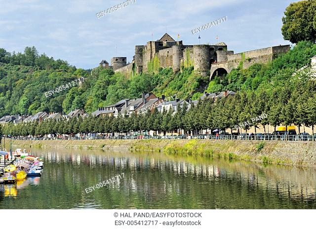 bouillon castle and semois river, ardennes. ancient castle, village and river, shot in bright summer light from north east