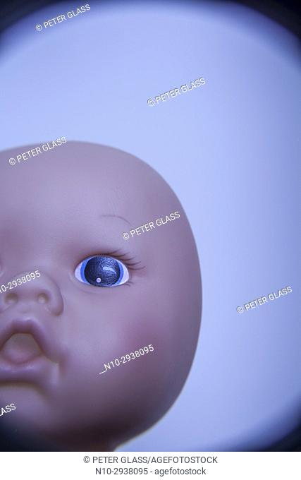 Close-up of a doll's face