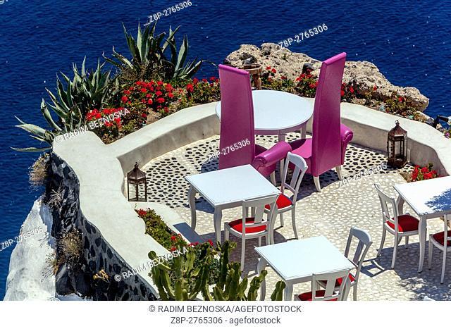 Luxury place sea view, restaurant bar cafe, Oia, Santorini, Greek Islands, Cyclades, Greece, EU, Europa