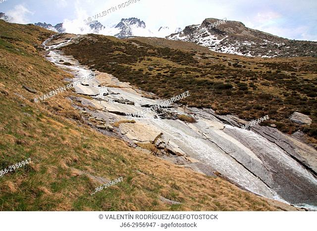 Landscape near Chabod refuge in the valley Valsavarenche in the National Park Gran Paradiso. Italy
